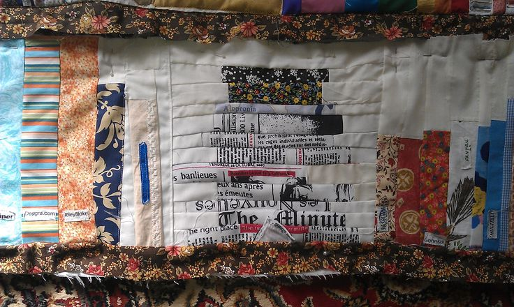 Newspaper stack, book quilt