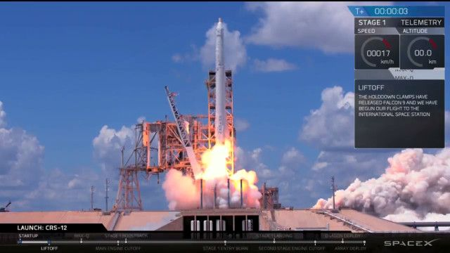 A little while ago SpaceX Dragon spacecraft blasted off atop a Falcon 9 rocket from Cape Canaveral in its CRS-12 (Cargo Resupply Service 12) mission, also referred to as SPX-12. After just over ten minutes it separated successfully from the rocket's last stage and went en route. This is the 12th mission for the Dragon spacecraft to resupply the International Space Station with various cargoes and then return to Earth, again with various cargoes. Read the details in the article!