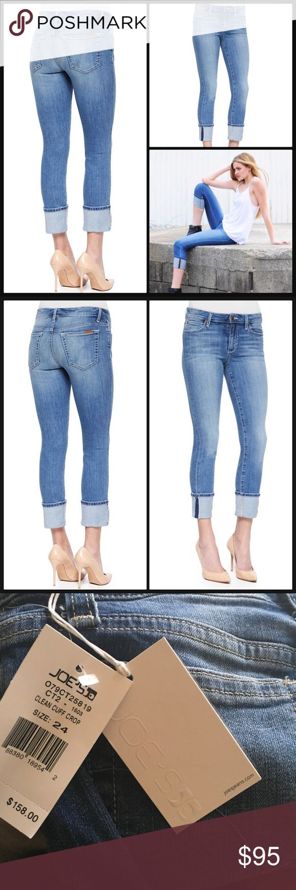 """JOE'S JEANS 👖 Clean Cuff Crop - Catalina NWT Perfect everyday comfort and style; soft lighter weight stretch!  Great fit.  Approx. measurements: 8"""" rise, 24"""" inseam, 31"""" outsea; 12"""" leg opening. Five-pocket style. Allover fading and whiskering. Low rise. Fitted through skinny legs. Wide rolled cuffs. Button/zip fly; belt loops. Cotton/polyester/spandex. Machine wash. Imported. Joe's Jeans Jeans Ankle & Cropped"""