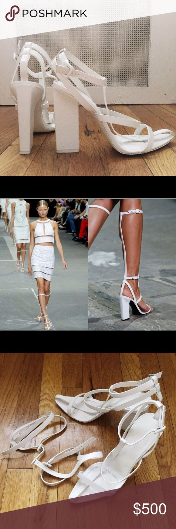 Alexander Wang white A-Line Gladiator Sandal Heels Alexander Wang Spring/Summer 2013 sold out everywhere.  Aline Gladiator High Leather Sandals 2.0 Size: 39 Heel height: 4.25 in / 110mm Buckles fasten at the ankle and top line.  Comes with removable knee high straps.  Originally bought for $695  Lightly worn once only - practically new.   #alexanderwang #heels #sandals #spring #summer #white #gladiator #rare Alexander Wang Shoes Heels