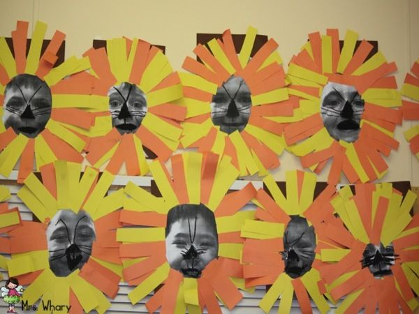ROOOOOOAR! Lion Art project with  student pics... my bulletin board for beginning of year... St. Jerome Day AND Parent Teacher Interviews!