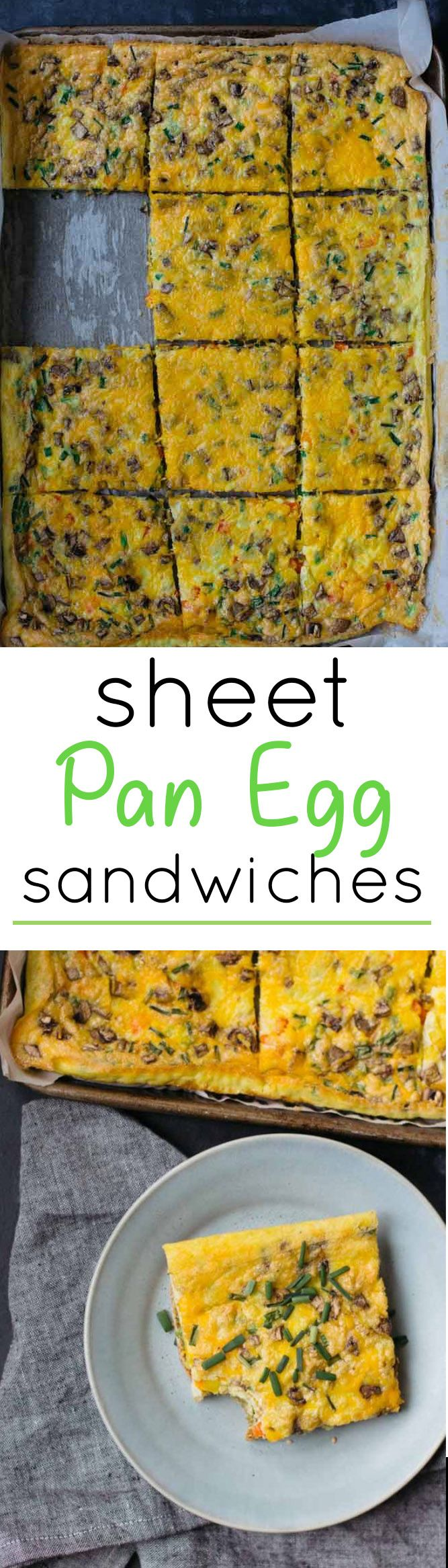 These Sheet Pan Egg Sandwiches are a great way to cook a breakfast meal for a large crowd using just your oven - it's fast, easy and delicious! You can customize your own toppings as you like!