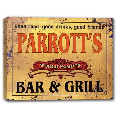 Parrott's World Famous Bar Grill Stretched Canvas Sign | eBay