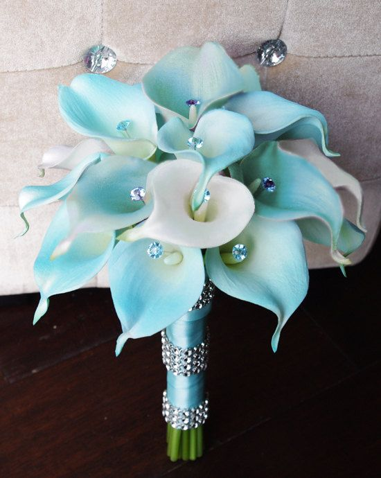 Silk Flower Wedding Bouquet - Tiffany or Aruba Blue Calla Lilies Natural Touch with Crystals Silk Bridal Bouquet