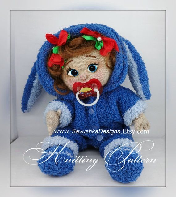 c16ede9f93e8 Toy Knitting Pattern doll knitted making amigurumi Bunny Romper doll ...