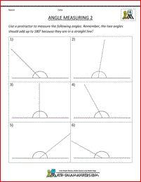 free printable math sheets angle measuring 2