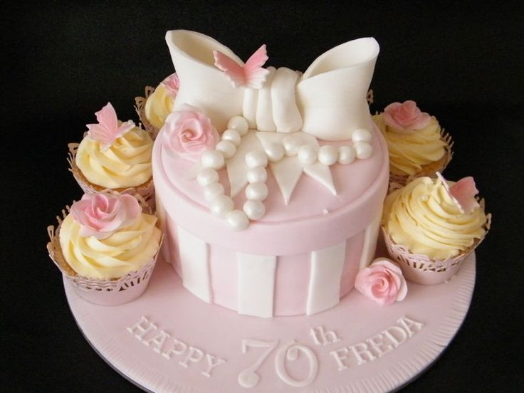 70Th Birthday Cake And Cupcake Combo  on Cake Central