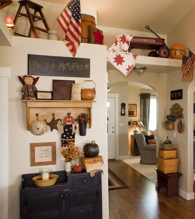 Primitive Entryway: Primitive Decorating, Country Primitive, Primitive Country, Country Sampler, Sampler Magazine, Plant Shelves