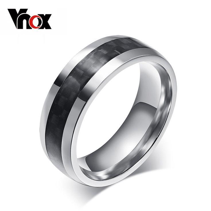 Vnox joyería moda hombre anillo de fibra de carbono anillos de acero inoxidable para hombre clásicos regalos de navidad