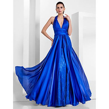 Sheath/Column Halter Floor-length Satin Chiffon And Lace Evening/Prom Dress  – USD $ 199.99--- love the color