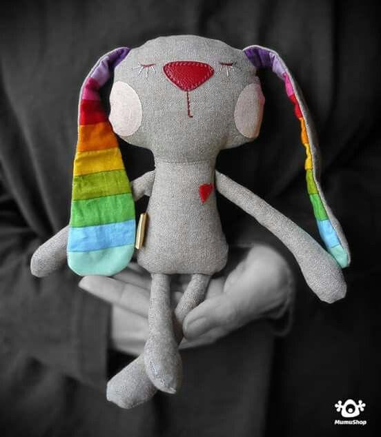 Mumushop - plush bunny with rainbow ears