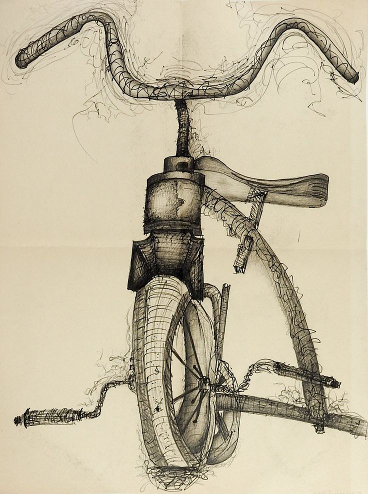 Tricycle Pencil & Ink Drawing | Bicycle drawing, Pencil ...