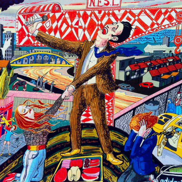 Detail of Grayson Perry tapestry, 'The Agony in the Car Park', 2012.