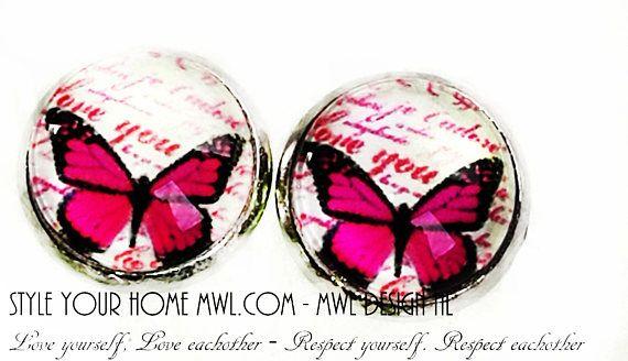 Bekijk dit items in mijn Etsy shop https://www.etsy.com/nl/listing/537956610/vlinder-knop-oorbellen-12-mm-mwl-design