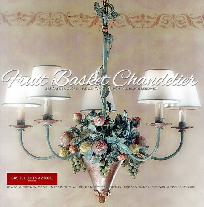 GBS Tole Floral Chandeliers, hand made in Florence since 1925. Made with hand-decorated wrought iron. Gbs Firenze. Made in Tuscany