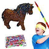 Pinatas Horse Pinata Kit Including Pinata Buster Stick Bandana and Candy Filler 2 lb. Brown