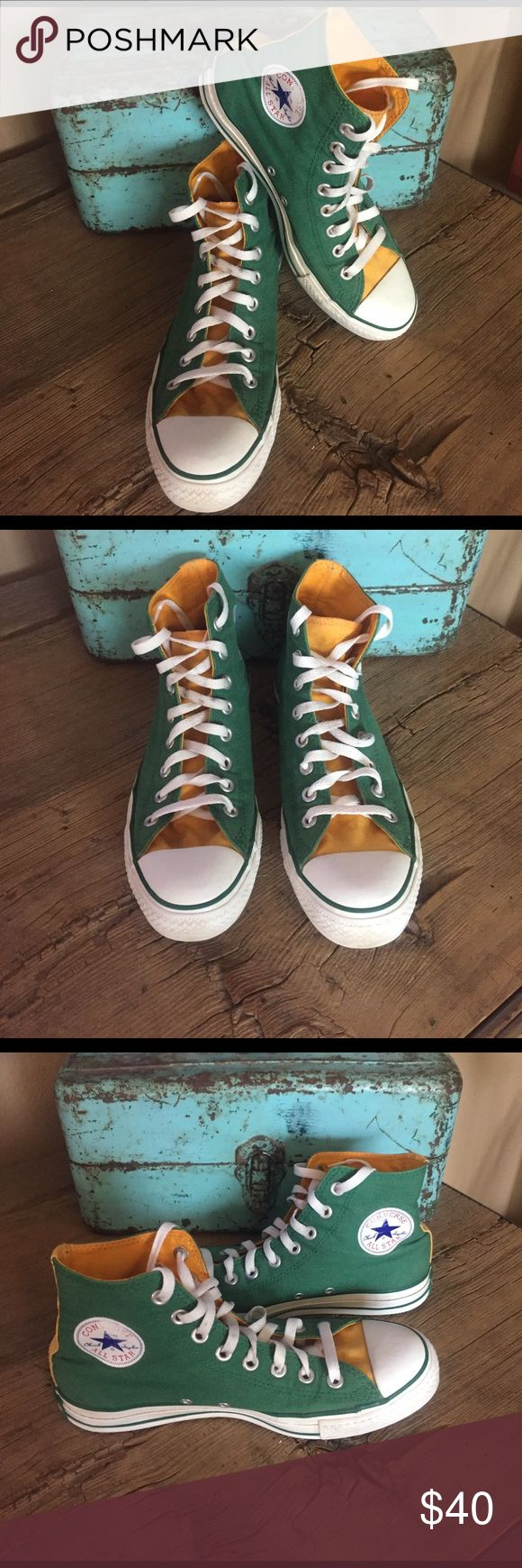 Converse Green/Yellow High Tops Women's Size 9/Men's Size 7. PREOWNED. Gently worn and tons of life left in these. I took photos of the converse logo on each shoe that are slightly faded so you know. Converse Shoes Sneakers