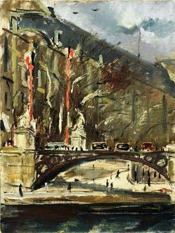 Filippo de Pisis (Italian, 1896-1956) - Bridge over the Seine in Paris, 1926