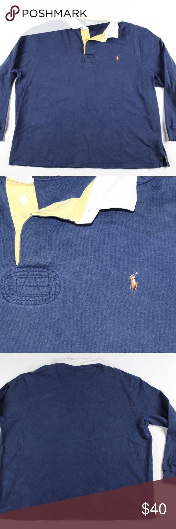 Polo Ralph Lauren 3X Big Long Sleeve Rugby Shirt Polo by Ralph Lauren Rugby Shirt  Excellent shirt for a day out  Comes from a smoke-free household  The size is 3XB and the measurements are 28 inches underarm to underarm and 29 inches shoulder to base  Blue with a Multi-color Pony logo  Cotton  Check out my other items for sale!  L3 Polo by Ralph Lauren Shirts Polos