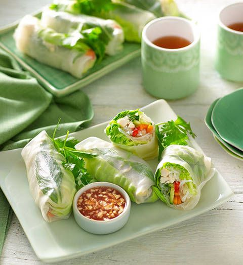 Chicken and vegetable rice-paper rolls: Roll your own! These fresh, fantastic parcels don't require any cooking, so you can keep your cool in the kitchen.