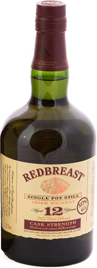 """Redbreast 12 Year Old Cask Strength Single Pot Still Irish Whiskey Aged for 12 years, 115.4 proof, """"Irish Whiskey of the Year"""" by Whisky Advocate. """"Wonderful. A rich, bittersweet plummy, red berry, oaky-spiced delight, the increased strength gives an already great whiskey a richer, fuller, fruitier dimension, and makes an already complex whiskey . . . even more complex. That makes it not just the best Irish whiskey of this year, but of any. An utter joy."""" — Whisky Advocate"""