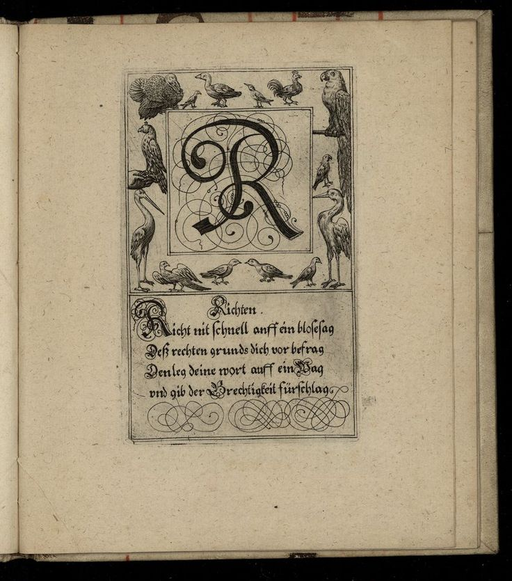 The letter R from a 1713 German