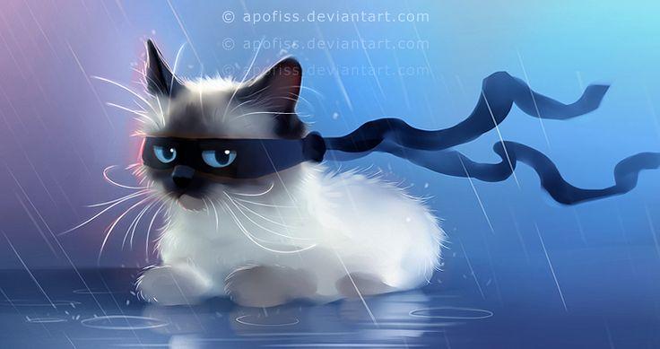 fancy ninja cat by Apofiss.deviantart.com on @deviantART