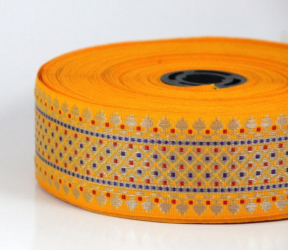 WHOLESALE TRIM-10 yards-Yellow Woven Jacquard Trims-Decorative fabric trim-Saree Border Trim- Indian Zari design