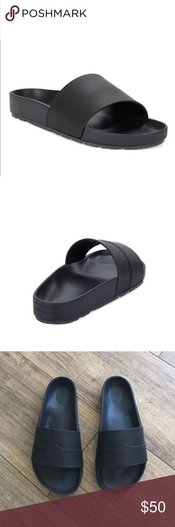 Hunter black mustache slide sandals Silicone/rubber material. Sole is like the Birkenstocks shape. Made in Italy. Size UK 3, US 5. Super comfy. New no box. Hunter Boots Shoes Sandals