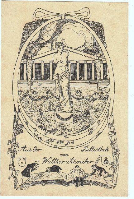 Ade, Mathilde (1877-1953): Aus der Bibliothek von Walther Schreiber. Mädchenreigen um Venus von Milo vor antikem Tempel, unten vier Gelehrte, ein übergroßes Buch erforschend.