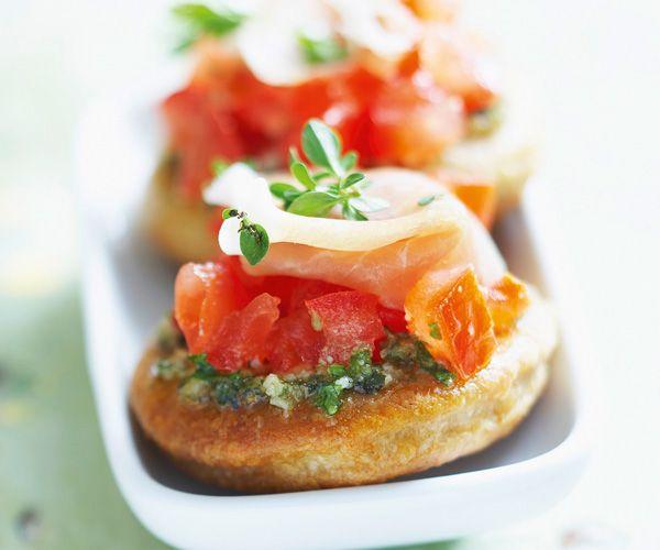 #Bouchées aux #tomates concassées et #jambon de pays