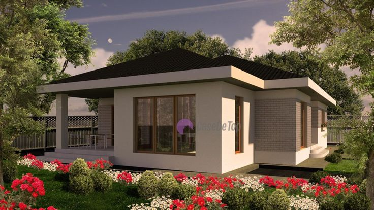 Casa mica si eficienta organizata functional pe parter- Vedere laterala stanga | Modern single-family dwelling- Street view Etichete: case mici parter, case moderne