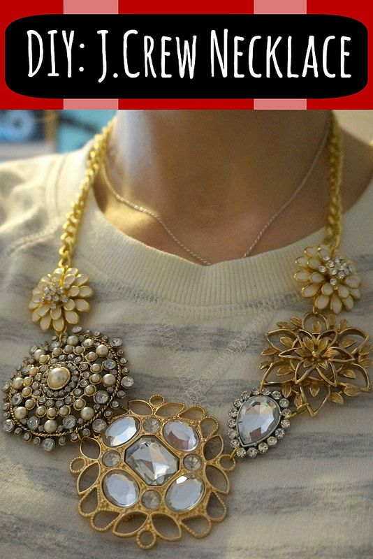 diy j crew inspired necklace with brooches