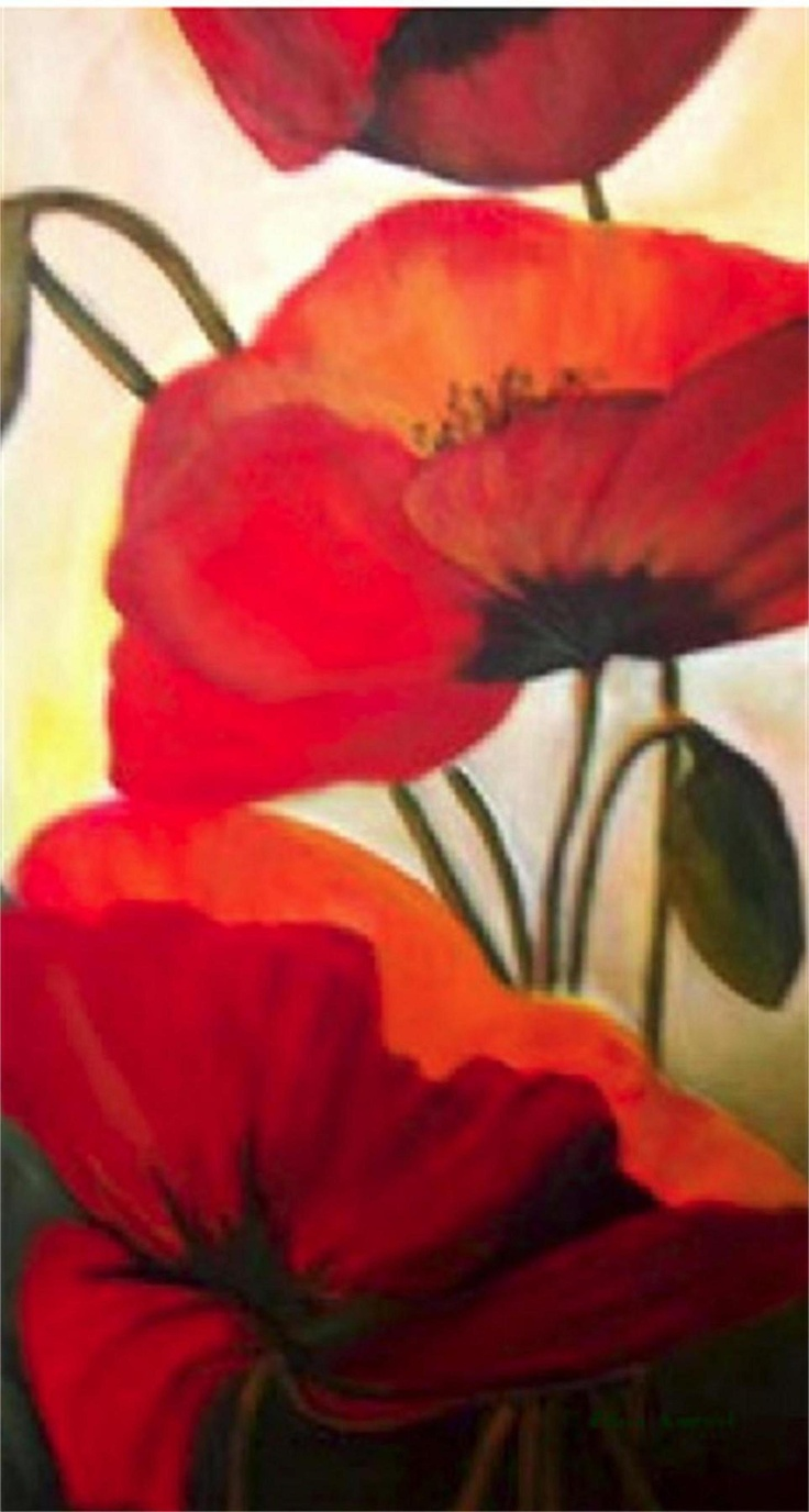 Poppies 4...painted several times for several clients.  Acrylic on canvas   4 ft by 2.5 ft.