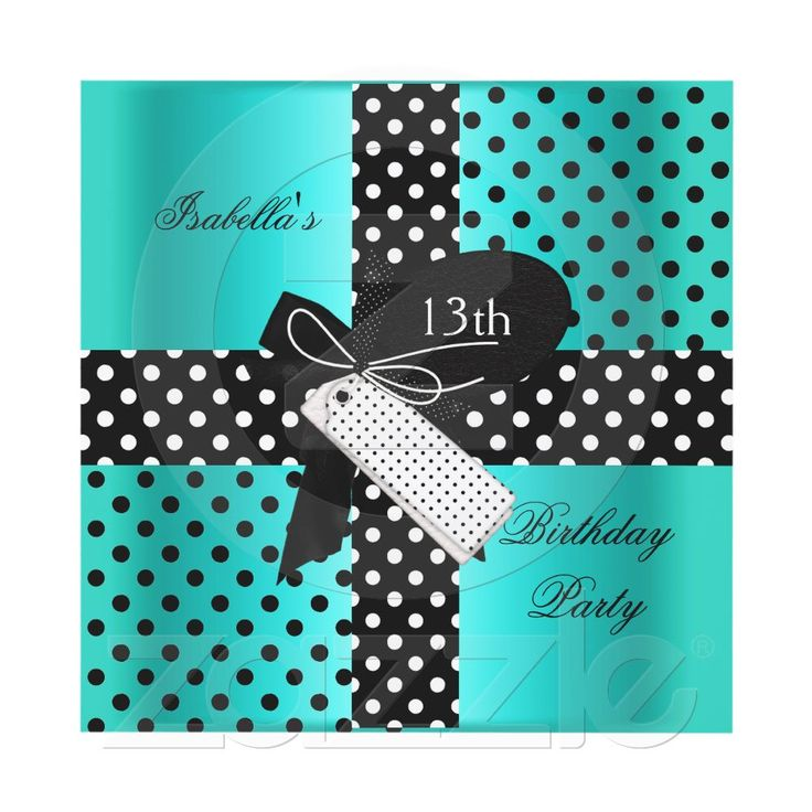 13th Birthday Polka Dot Teal Blue Black White Invite Customize it with your own details