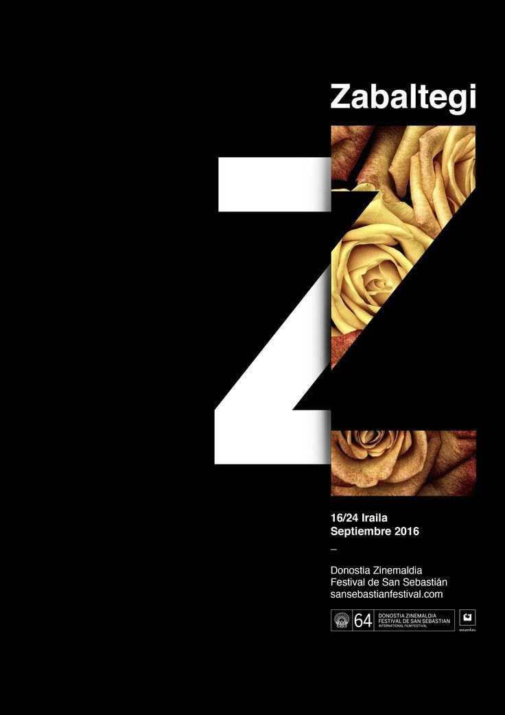 Dramatic minimal design combining flowers & type. Poster Zabaltegi by Xavier Esclusa Trias - The San Sebastián Film Festival #poster #typography #layout #design #floraltype