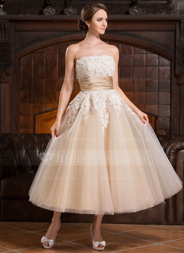 A-Line/Princess Strapless Tea-Length Beading Appliques Lace Sequins Zipper Up Strapless Sleeveless Beach Hall Reception General Plus No Spring Summer Fall Champagne Tulle Wedding Dress