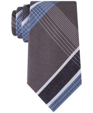 Kenneth Cole Reaction Men's Monte Bianco Plaid Tie  - Tan/Beige