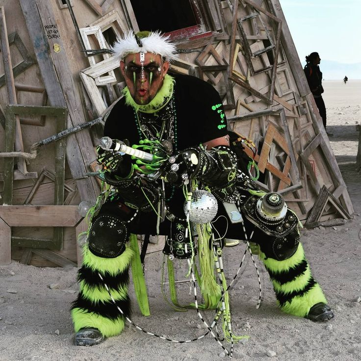 Enki - Techno Shaman.  Burning Man. Black Rock Lighthouse. #technoshaman #shaman #futureprimitive #tribal #primitive #annunaki #ancientaliens #crystalofpower#crownofdestiny #hornedcrown #crystal #burningman #burningman2016 #enki #facepaint #warpaint #costume #cosplay #ritual #power #limegreen #neongreen #mage #mystic #magician #warlock