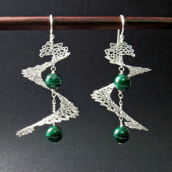 Stunning and unique! Spiral Sterling Silver Bobbin Lace Earrings by RoseGround at Etsy.