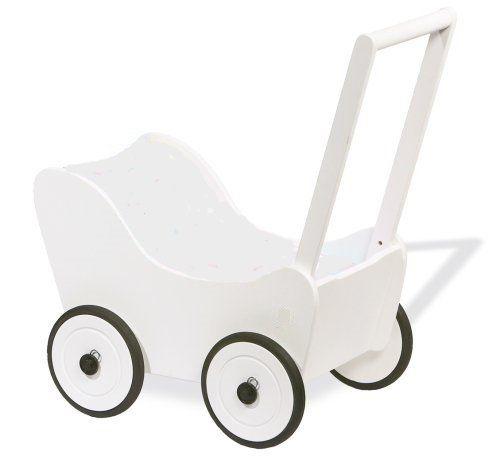 SchwabenKids® Holzpuppenwagen weiß + BREMSE + Textil Lauflernhilfe Puppenwagen Lauflernwagen
