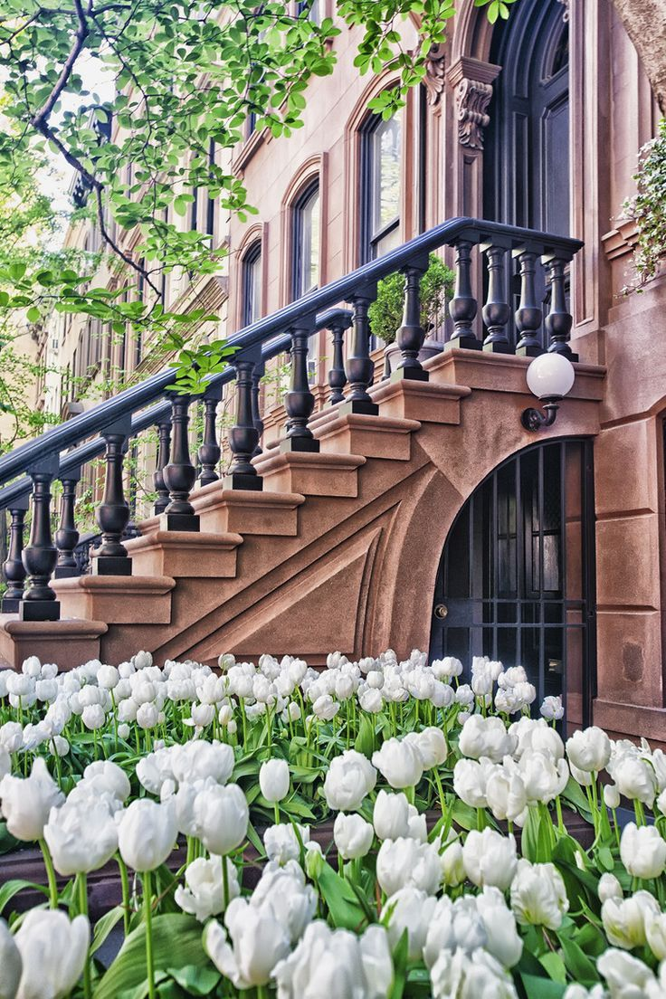 Brownstone & Tulips on 9th, NYC. I would love to have a brownstone in NYC. #nyc #newyork