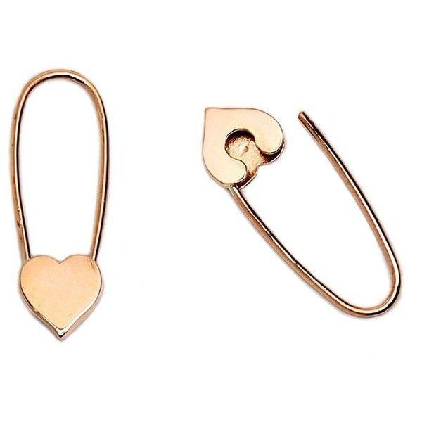 Loren Stewart Mini Heart Safety-Pin Earrings Goop ❤ liked on Polyvore featuring jewelry, earrings, punk rock earrings, 14k gold earrings, gold jewelry, heart jewelry and 14 karat gold jewelry