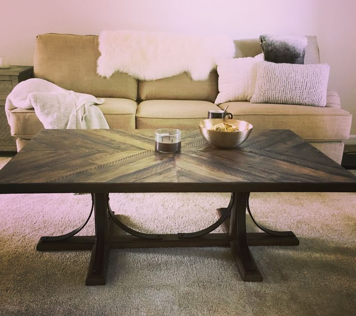 Value city industrial coffee table and couch. Sheepskin fur rug from the World Market. Pillows and throw from Target