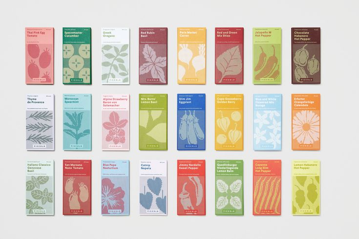 London-based studio Here Design has created a new brand identity for Italian seed company Piccolo, including updated packaging designed to look like a miniature book series.
