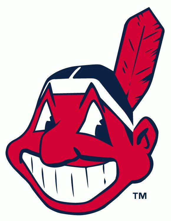 Cleveland Indians Primary Logo (1980) - Modern smiling Chief Wahoo in red with single feather