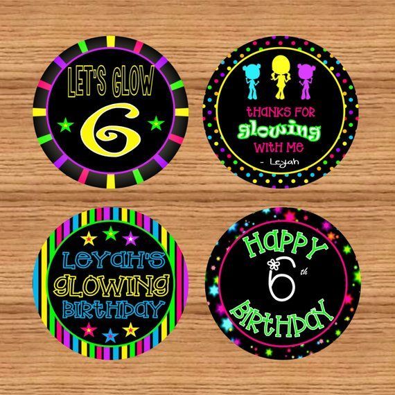 Favor stickers Glow Party Stickers Glow in the dark printable Glow in the dark cupcake toppers Instant Download #DPI9811glow Glow