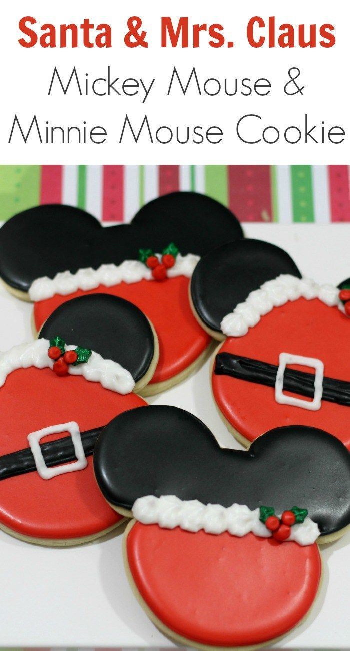 Santa & Mrs. Claus - Mickey Mouse & Minnie Mouse Cookie