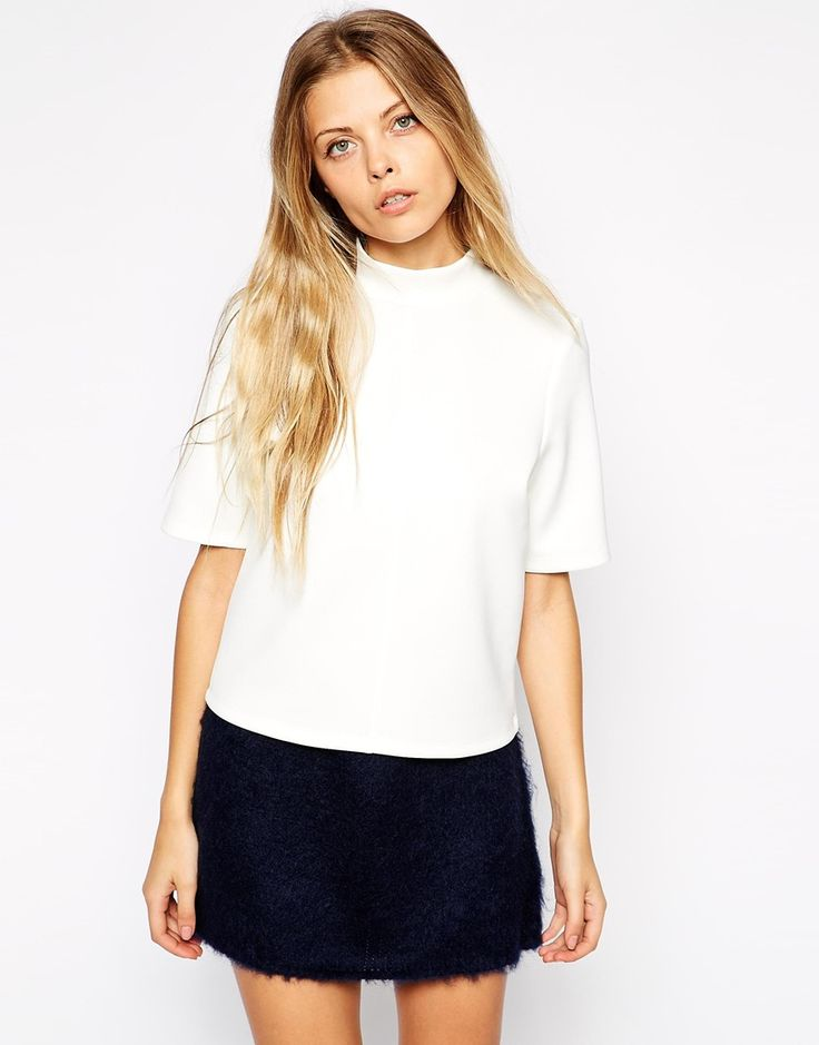 ASOS High Neck Top With Short Sleeves