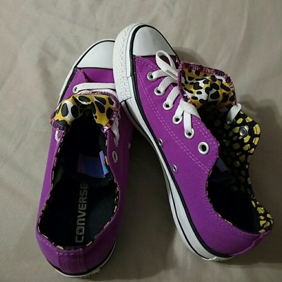 Ladies Converse So so cute purple and leopard print converse. Wore a few times but a little to big look brand new. Converse Shoes Sneakers